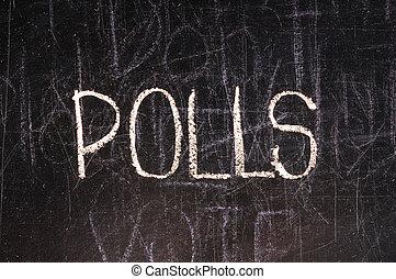 geschreven, poll, bord