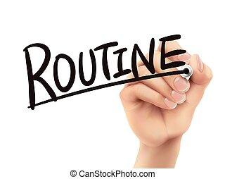 geschreven, routine, hand