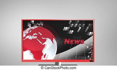 geschreven, scherm, woord, nieuws, rood