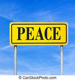 geschreven, vrede straat, meldingsbord