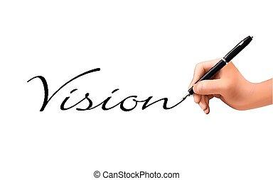 geschrieben, 3d, wort, vision, hand