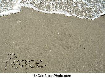 geschrieben, frieden, sand