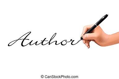 geschrieben, hand, wort, 3d, autor