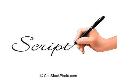 geschrieben, hand, wort, 3d, drehbuch
