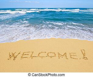 geschrieben, herzlich willkommen, sandstrand, sandig