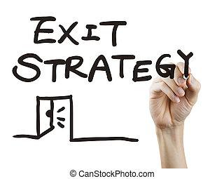 geschrieben, strategie, ausgang, wörter, hand