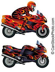 geschwindigkeit, motorrad, mit, person, und, brennender,...