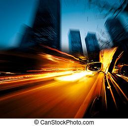 geschwindigkeitsüberschreitung, auto, durch, stadt