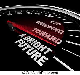 geschwindigkeitsüberschreitung, gegen, a, helle zukunft, -, geschwindigkeitsmesser