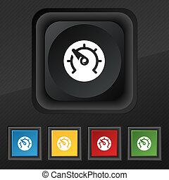 geschwindigkeitsmesser, beschaffenheit, schwarz, tasten, dein, symbol., stilvoll, satz, ikone, fünf, bunte, geschwindigkeit, design.