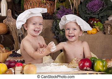 geschwister, hüte, kochen, chefs