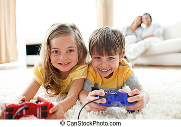 geschwister, spiel, video, spielende , mögen