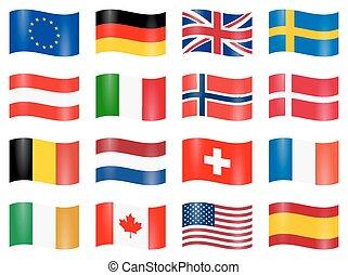geschwungen, land, flaggen