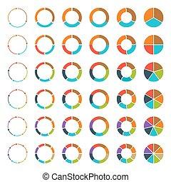 gesegmenteerde, set., pijl, cirkeldiagrammen