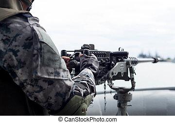 geselecteerde, brandpunt, geweer, machine, soldaat, marine, hand