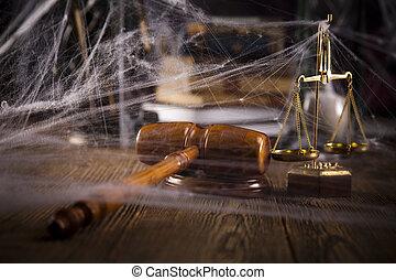 gesetzlich, richterhammer, skala gerechtigkeit