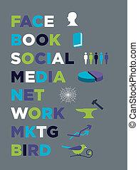 gesicht, buch, sozial, medien, marketing