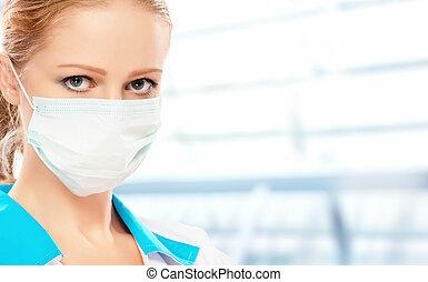 gesicht, frau, maske, doktor