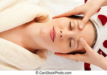 gesicht, massage, in, spa
