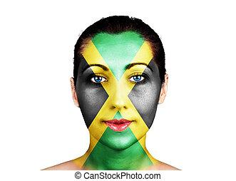 gesicht, mit, der, jamaica läßt