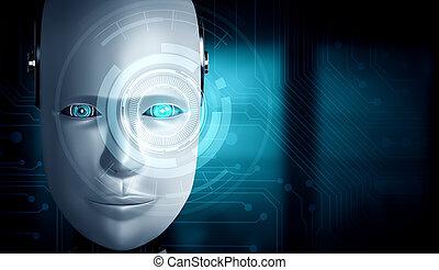 gesicht, schließen, ai, humanoid, begriff, denken, auf, gehirn, roboter, grafik