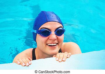 gesicht, schwimmerin