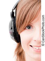 gesicht, von, m�dchen, zuhören, music., vorderansicht