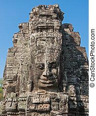 gesichter, von, bayon tempel, angkor, cambodscha