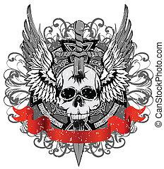 geslaanene, zwaard, schedel
