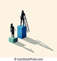 geslacht, ongelijkheid, concept