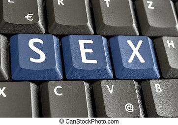 geslacht, spelled, op, computer toetsenbord