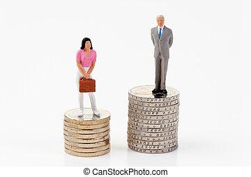 geslacht, verschillen, in, salaries