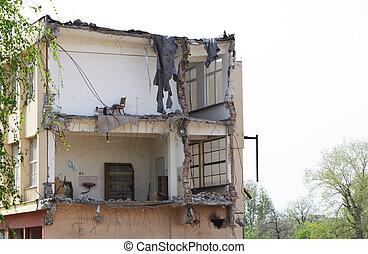 gesloopte, gebouw