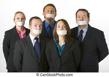 gesloten, groep, monden, zakenlui, opgenemenene, hun