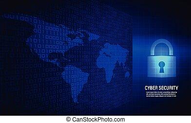gesloten, hangslot, op, binaire code, achtergrond