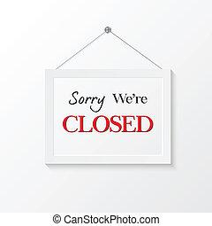 gesloten, illustratie, meldingsbord