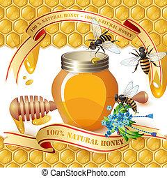 gesloten, pot, houten honey scheplepel