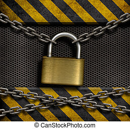 gesloten, slot, met, kettingen, en, metaal, industriebedrijven, achtergrond