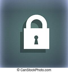 gesloten, slot, pictogram, symbool, op, de, blauwe-groen, abstract, achtergrond, met, schaduw, en, ruimte, voor, jouw, text.