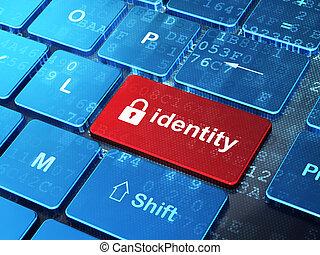 gesloten, veiligheid, toetsenbord, concept:, identiteit, hangslot