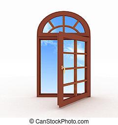 gesloten, venster, plastic, witte
