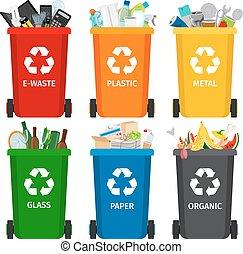 gesorteerde, afval kan, verzameling, restafval, garbage., scheiding, recycling, gerecyclde