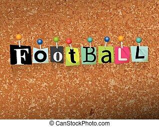 gespeld, concept, brieven, illustratie, voetbal