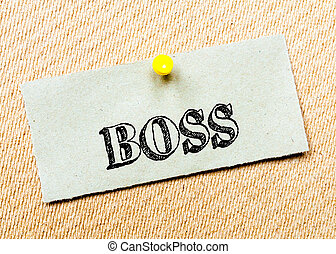 gespeld, concept, gerecyclde, beeld, kurk, aantekening, message., papier, board., baas