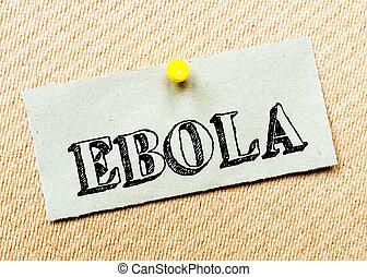 gespeld, concept, gerecyclde, beeld, kurk, aantekening, message., papier, board., ebola