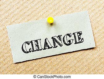 gespeld, concept, gerecyclde, beeld, kurk, aantekening, message., papier, board., veranderen