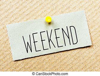 gespeld, concept, gerecyclde, beeld, kurk, aantekening, message., papier, board., weekend
