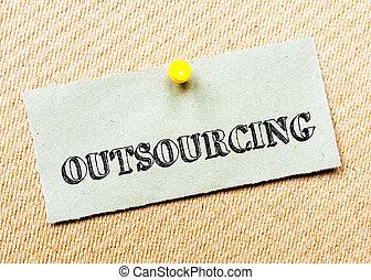 gespeld, concept, gerecyclde, beeld, outsourcing, kurk, aantekening, message., papier, board.