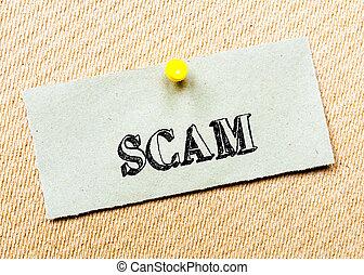 gespeld, concept, scam, gerecyclde, beeld, kurk, aantekening, message., papier, board.