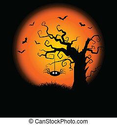 gespenstisch, halloween, baum, hintergrund